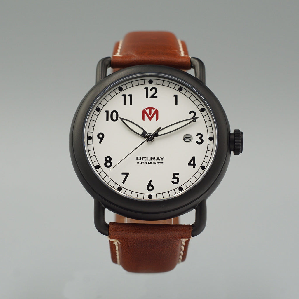 Watch - DelRay - White Dial - PVD Black Case - Brown Leather - McDowell Time Auto-Quartz Kinetic