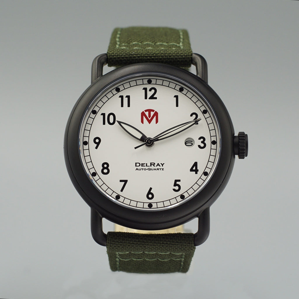Watch - DelRay - White Dial - PVD Black Case - Green Canvas - McDowell Time Auto-Quartz Kinetic