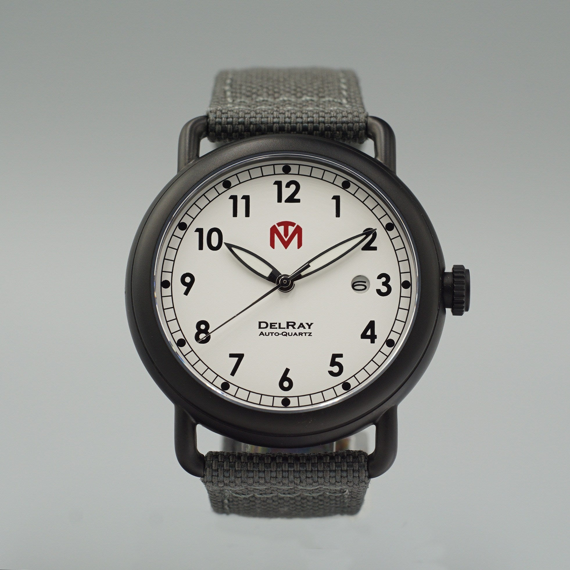 DelRay - White Dial - PVD Black Case - 44mm Wire Lug Watch