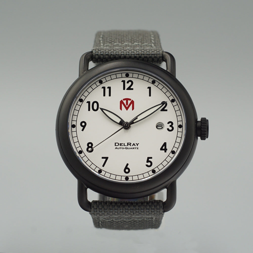 Watch - DelRay - White Dial - PVD Black Case - Grey Canvas - McDowell Time Auto-Quartz Kinetic