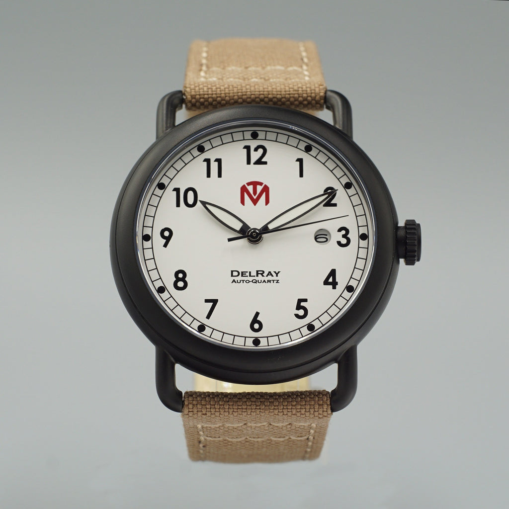 Watch - DelRay - White Dial - PVD Black Case - Tan Canvas - McDowell Time Auto-Quartz Kinetic