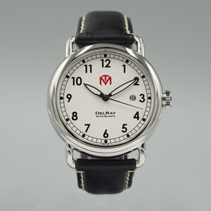 DelRay Men's Watch - White Dial - Polished Case Watch - McDowell Time Auto-Quartz Kinetic Movement YT57