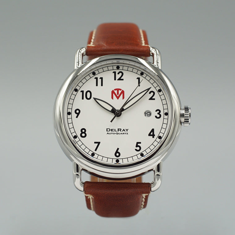 Watch - DelRay - White Dial - Polished Case - Brown Leather - McDowell Time Auto-Quartz Kinetic