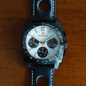 Maxton Men's Watch - White Dial - PVD Black Case Watch - McDowell Time Auto-Quartz Kinetic Movement YT57