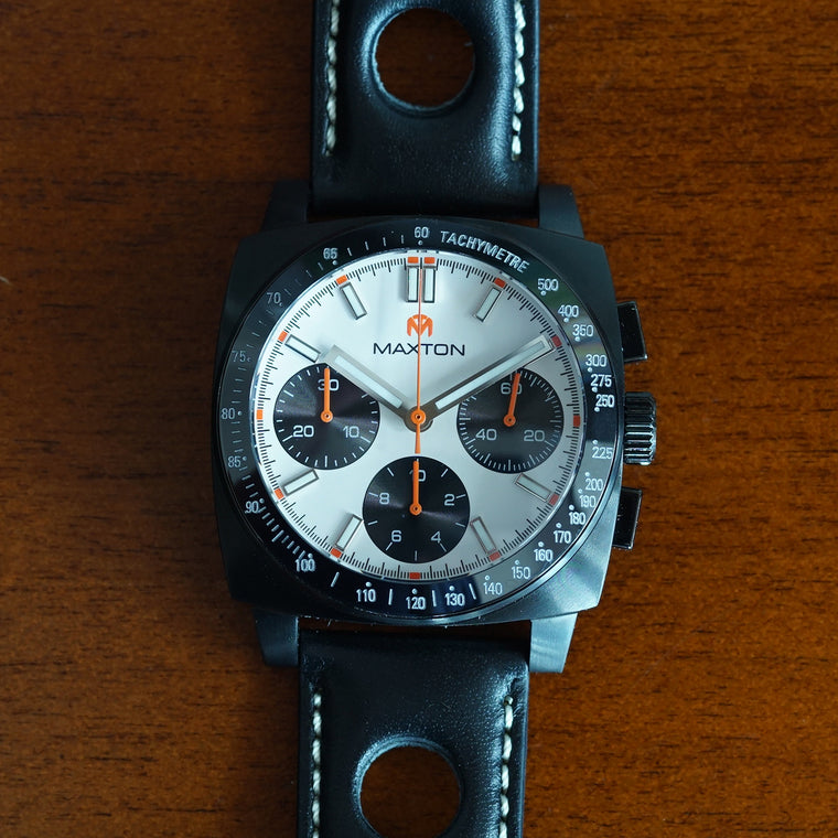 Maxton - White Dial - PVD Black Case Watch - McDowell Time Auto-Quartz Kinetic Movement YT57