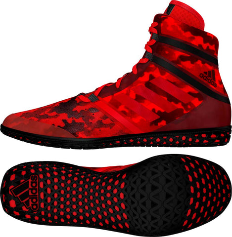 Red Camo Print Adidas Impact Wrestling Shoes