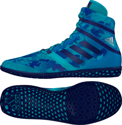 Turqouise Camo Print Adidas Impact Wrestling Shoes