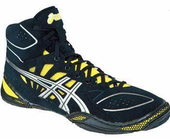 Asics Dan Gable Ultimate 3 Black Yellow Wrestling Shoes