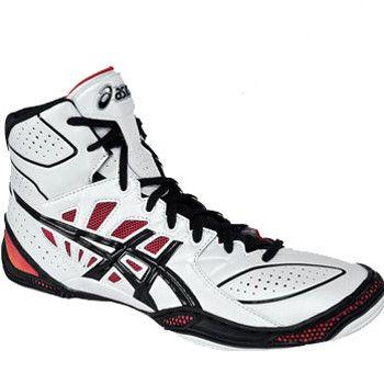 Asics Dan Gable Ultimate 3 White Red Wrestling Shoes