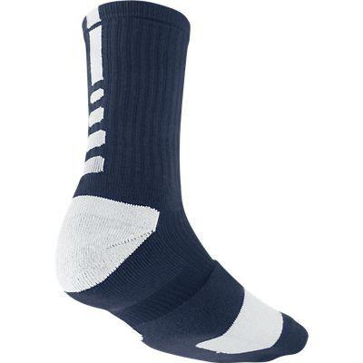 NIke Elite Cushioned Crew Navy Blue White Socks