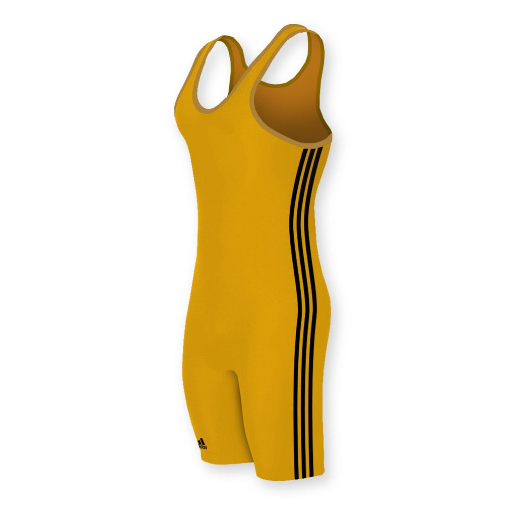 Adidas 3 Stripe AthleticGold Black Wrestling Singlet