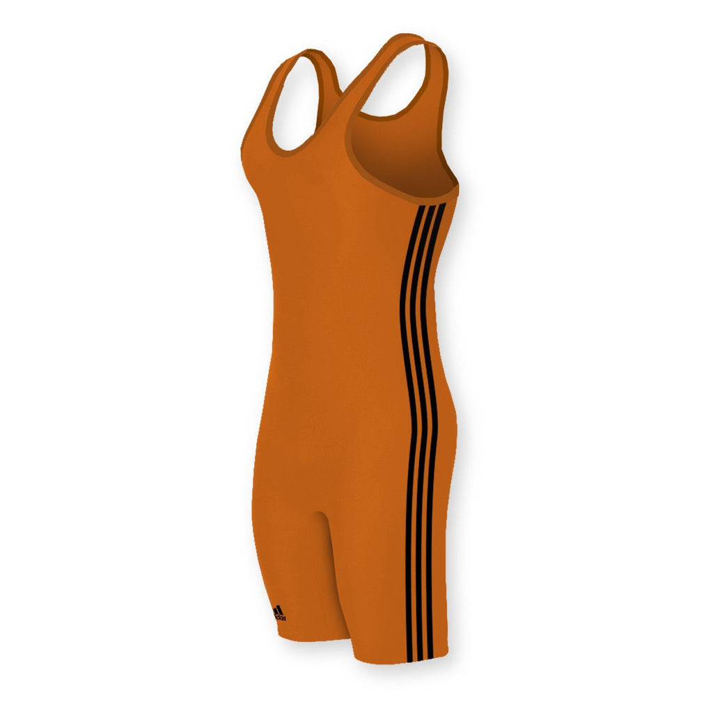 Adidas 3 Stripe Orange Black Wrestling Singlet