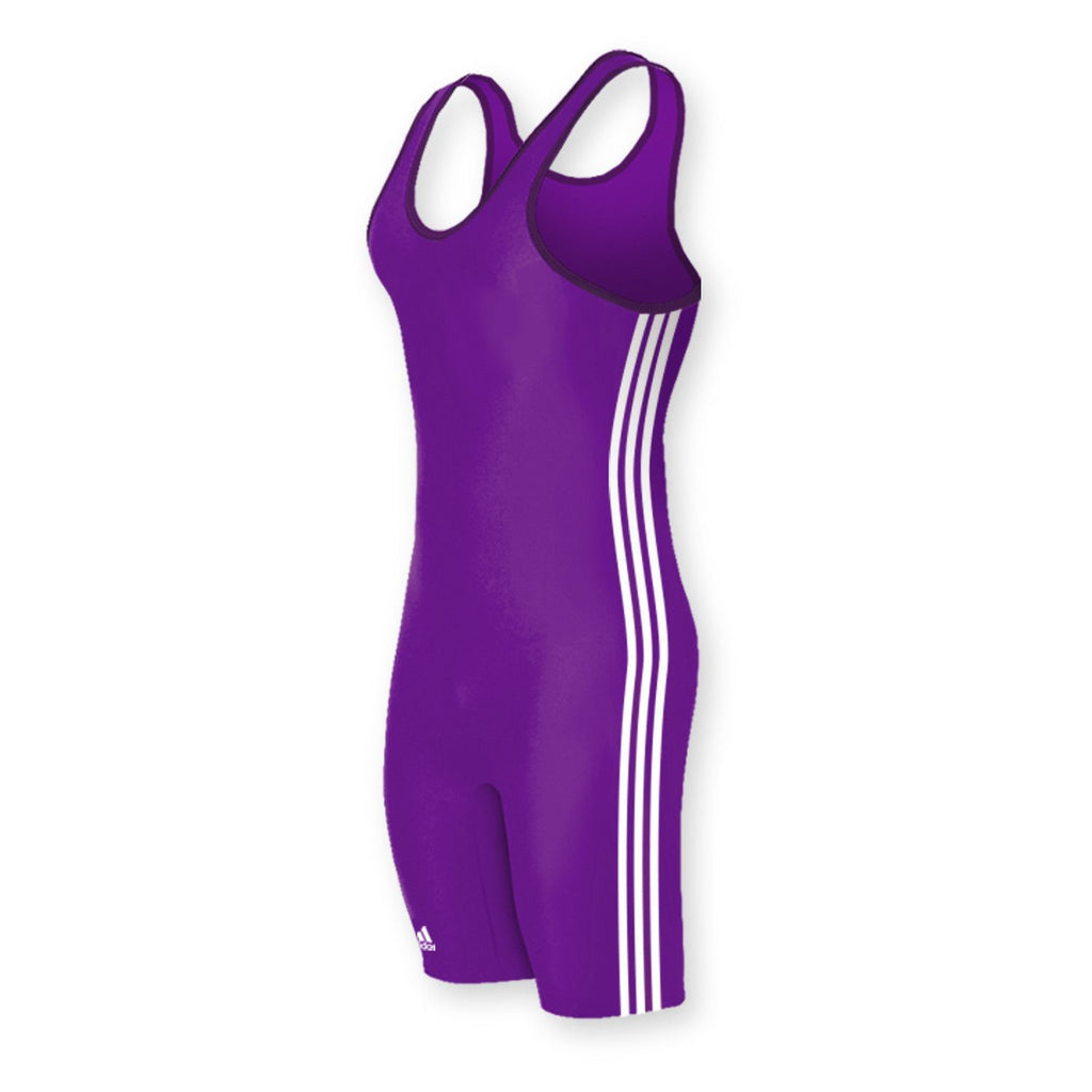 Adidas 3 Stripe Purple White Wrestling Singlet