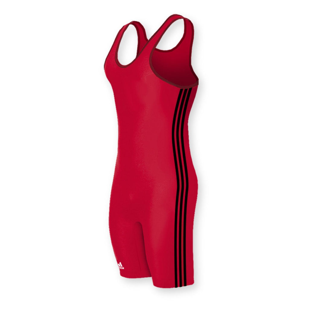 Adidas 3 Stripe Red Black Wrestling Singlet