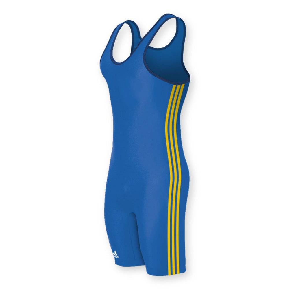 Adidas 3 Stripe Royal Blue Althetic Gold Wrestling Singlet