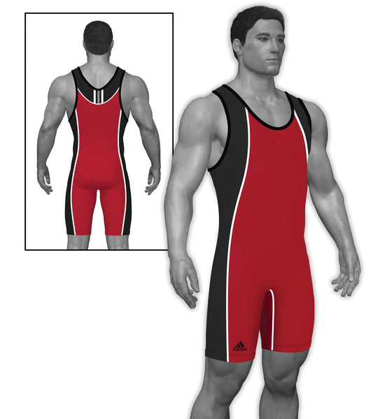 Adidas Wide Side Panel Stock Red BlackWrestling Singlets