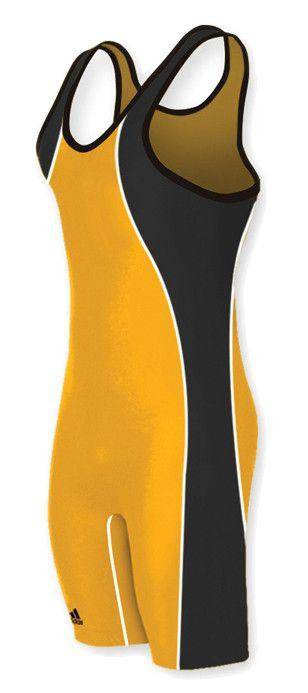 Adidas Wide Side Panel Stock Athletic Gold Black Wrestling Singlets