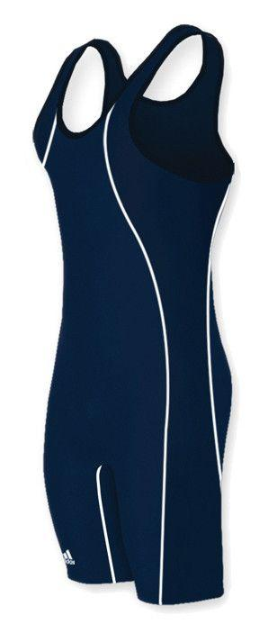 Adidas Wide Side Panel Stock Navy Blue Navy Blue Wrestling Singlets