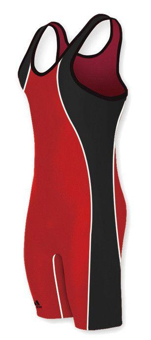 Adidas Wide Side Panel Stock Wrestling Singlets Red Black