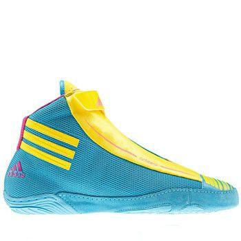adidas Adizero Retired Cyan Lemon Peel Intense Pink Wrestling Shoes