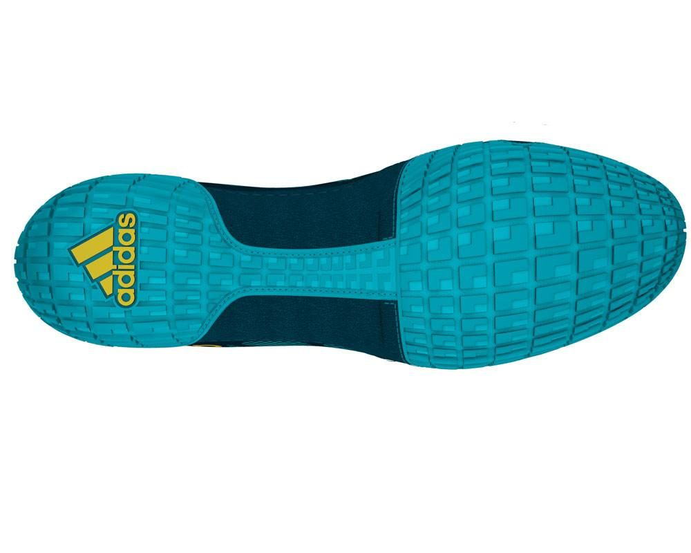 adidas adizero varner aqua yellow blue wrestling shoes bottom