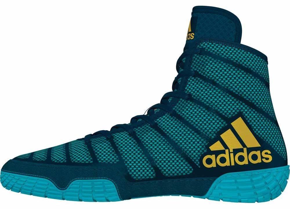 adidas adizero varner aqua yellow blue wrestling shoes