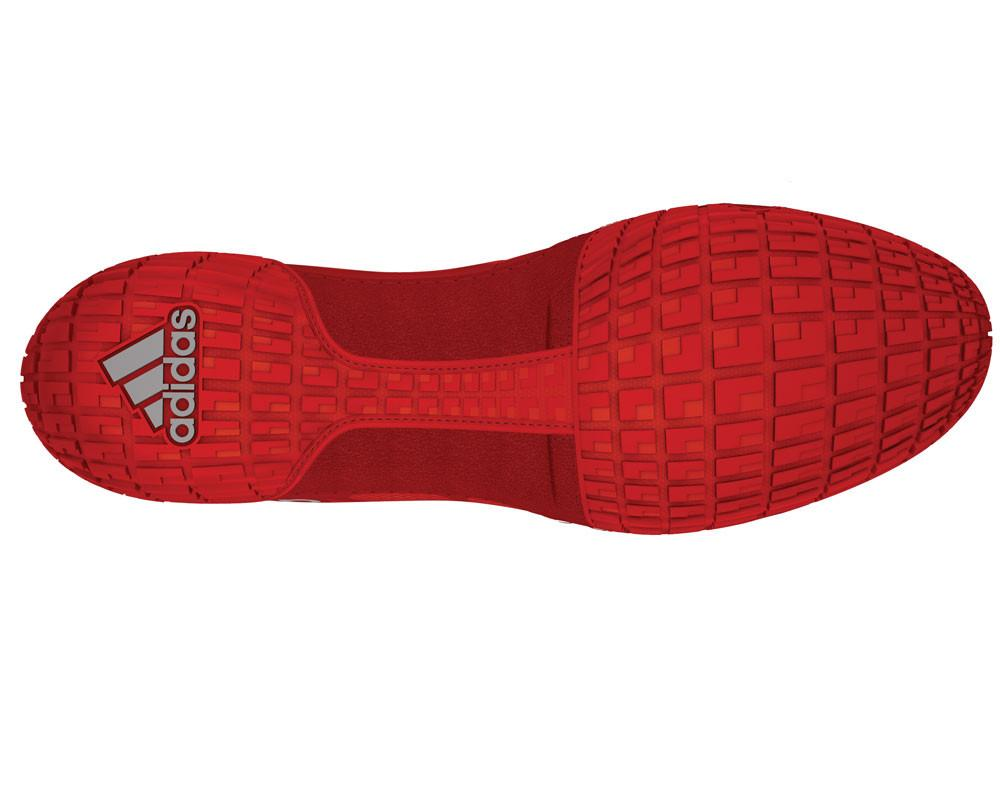 adidas adizero varner red silver white wrestling shoes bottom