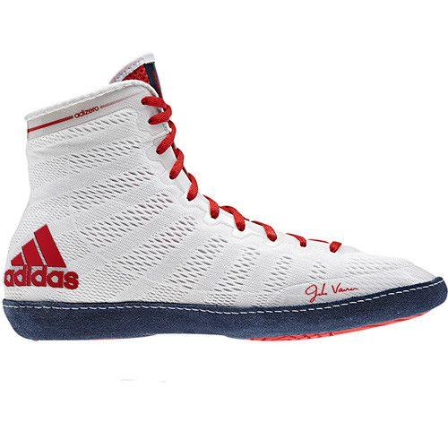 adidas adizero Varner White Navy Red Wrestling Shoes