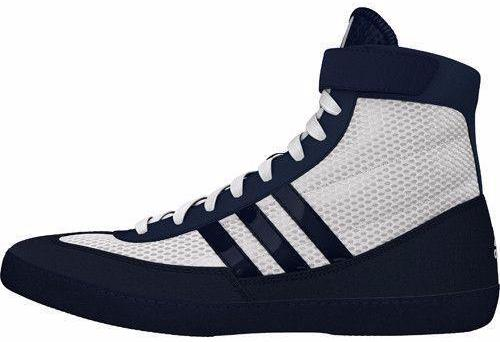 White and Navy Blue Combat Speed IV Wrestling Shoes