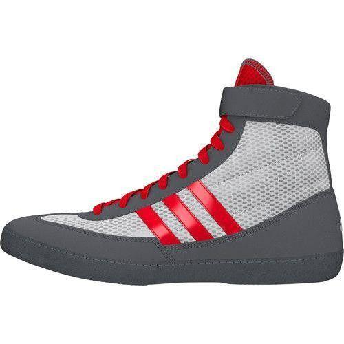 White & Red & Grey adidas Combat Speed IV Wrestling Shoes