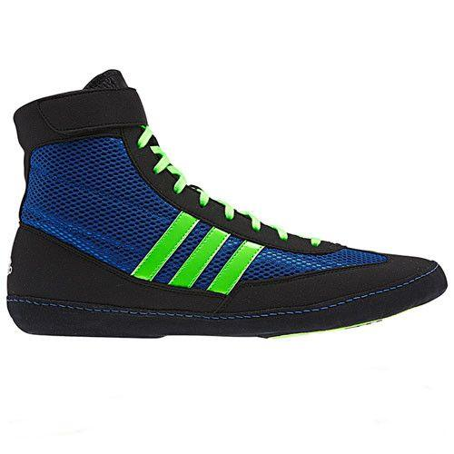 adidas Combat Speed 4 Youth Bahia Blue Lime Black Wrestling Shoes