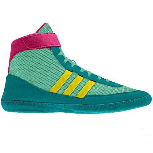 adidas Combat Speed 4 Retired Emerald Yellow Pink Wrestling Shoes