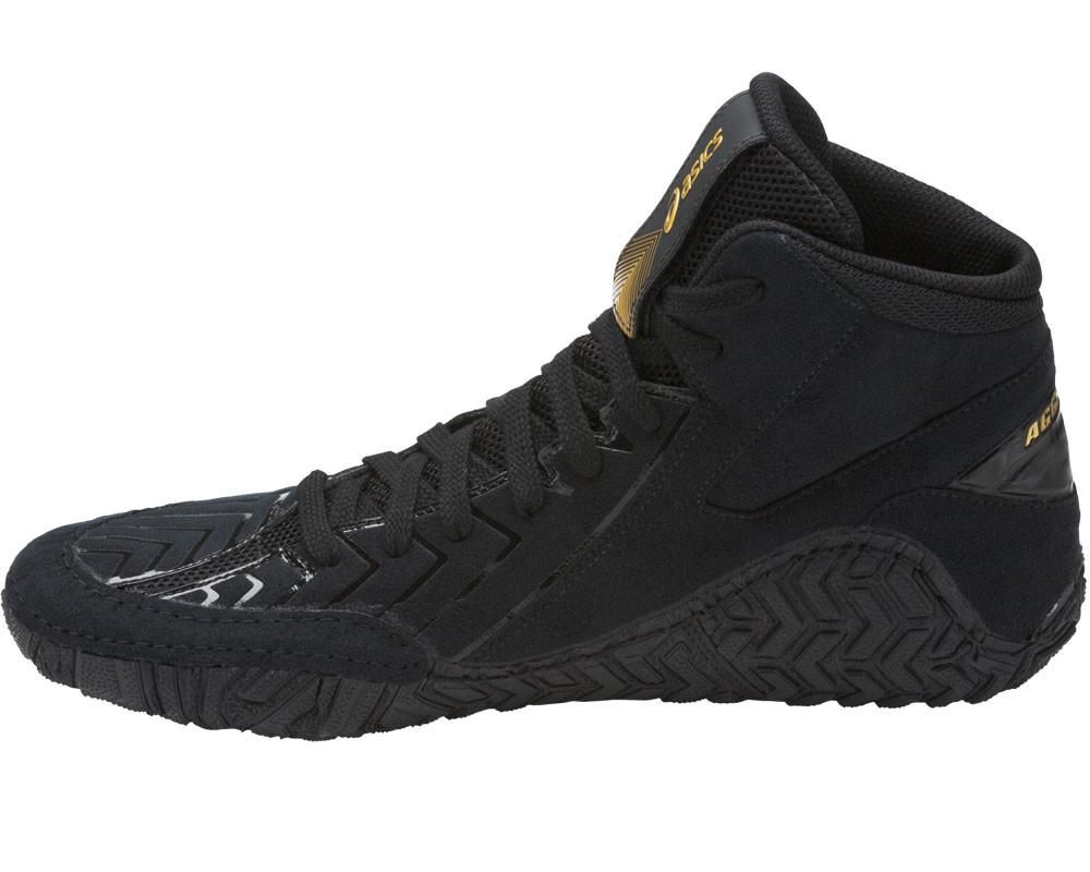 asics aggressor 3 wrestling shoes black gold 3
