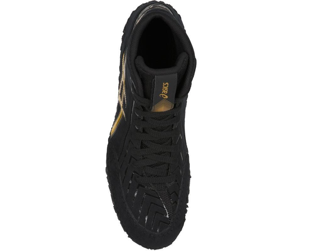 asics aggressor 3 wrestling shoes black gold 4