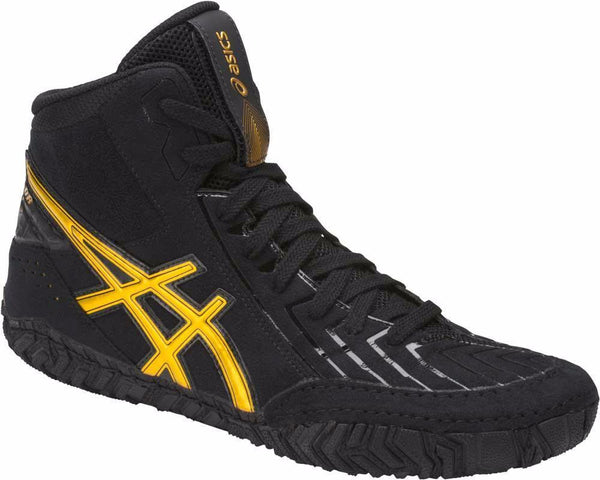 asics aggressor 3 wrestling shoes black gold