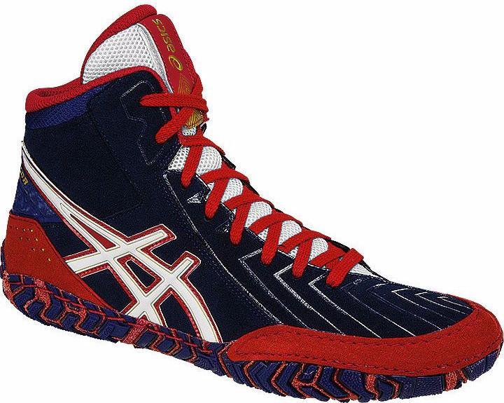 Asics Aggressor 3 Estate Blue White True Red Wrestling Shoes