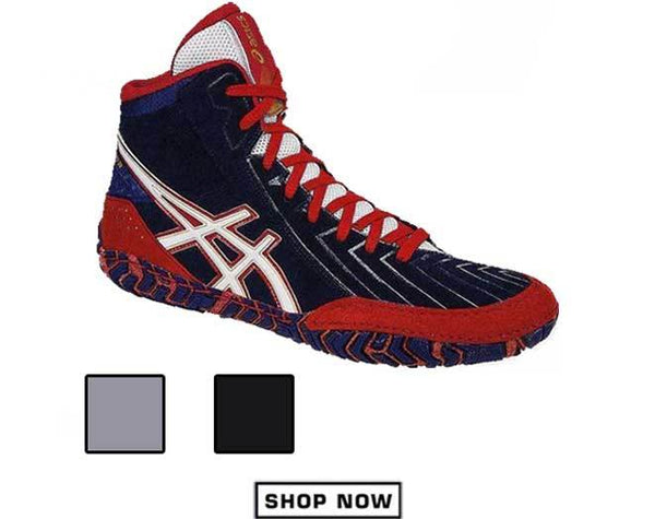 ASICS Aggressor 3 Navy Blue Red Wrestling Shoes Menu View