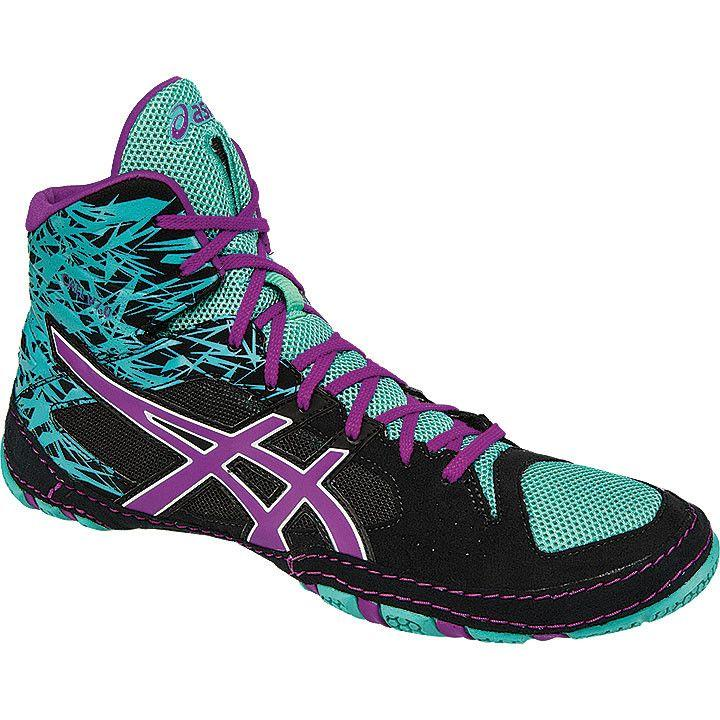 Asics Cael V7.0 Black Orchid Turquoise Wrestling Shoes
