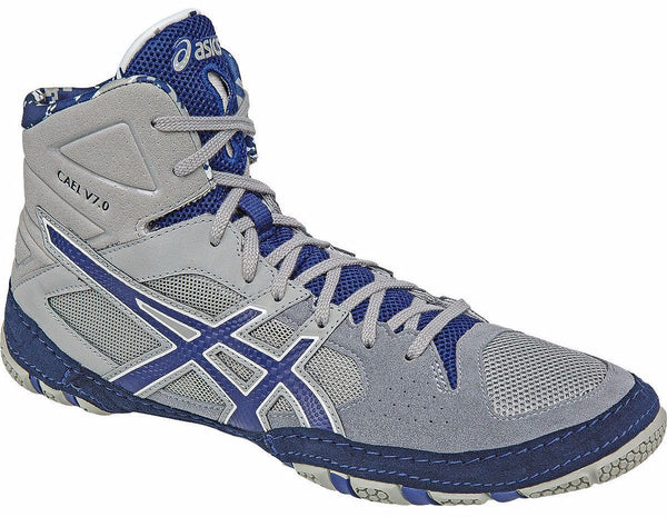 Asics Cael V7.0 Light Grey Estate Blue White Wrestling Shoes