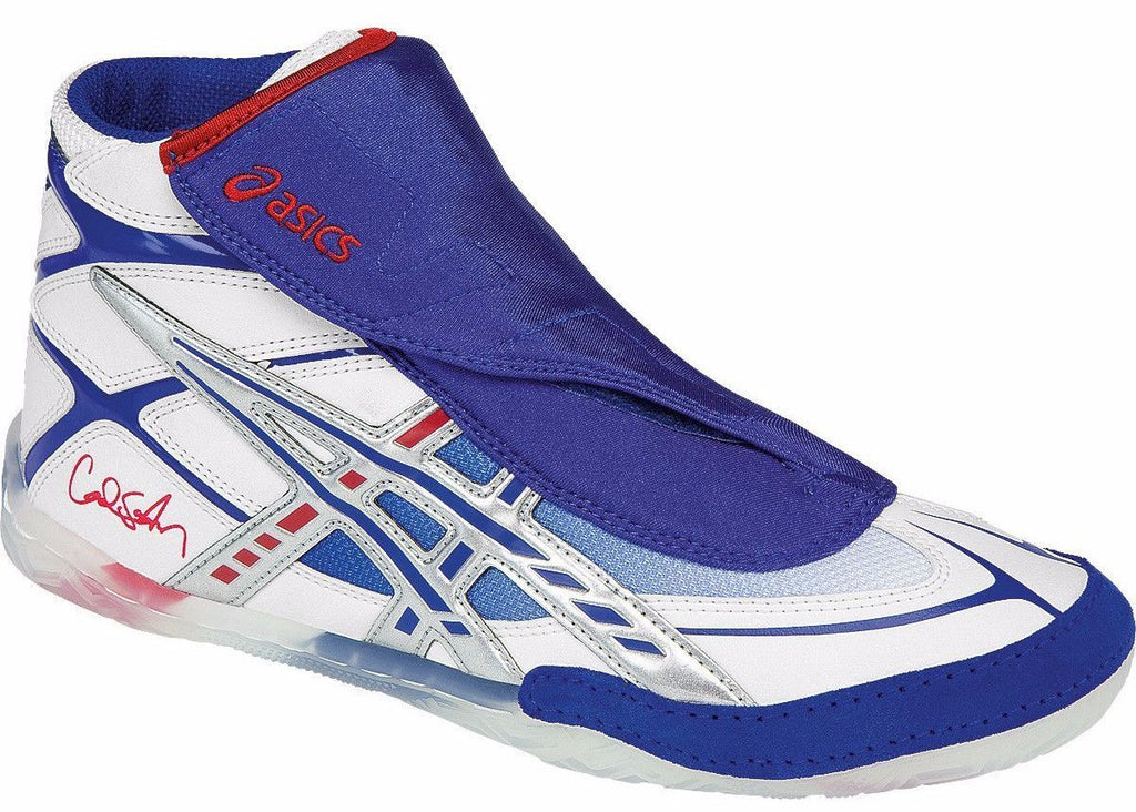 Asics Cael White Blue Red Wrestling Shoes