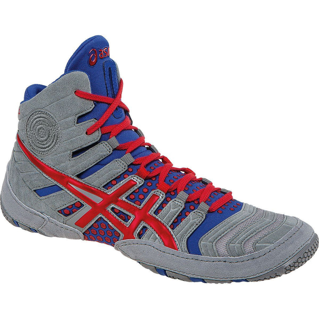 Asics Dan Gable Ultimate 4 Grey Red True Blue Wrestling Shoes