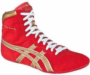 Asics Dave Schultz Red Gold White Wrestling Shoes