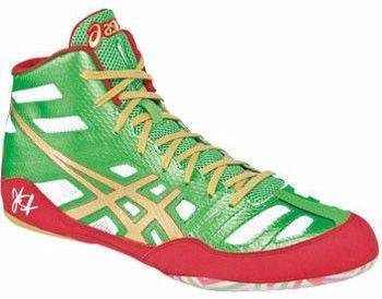 Asics JB Elite Green Gold White Wrestling Shoes