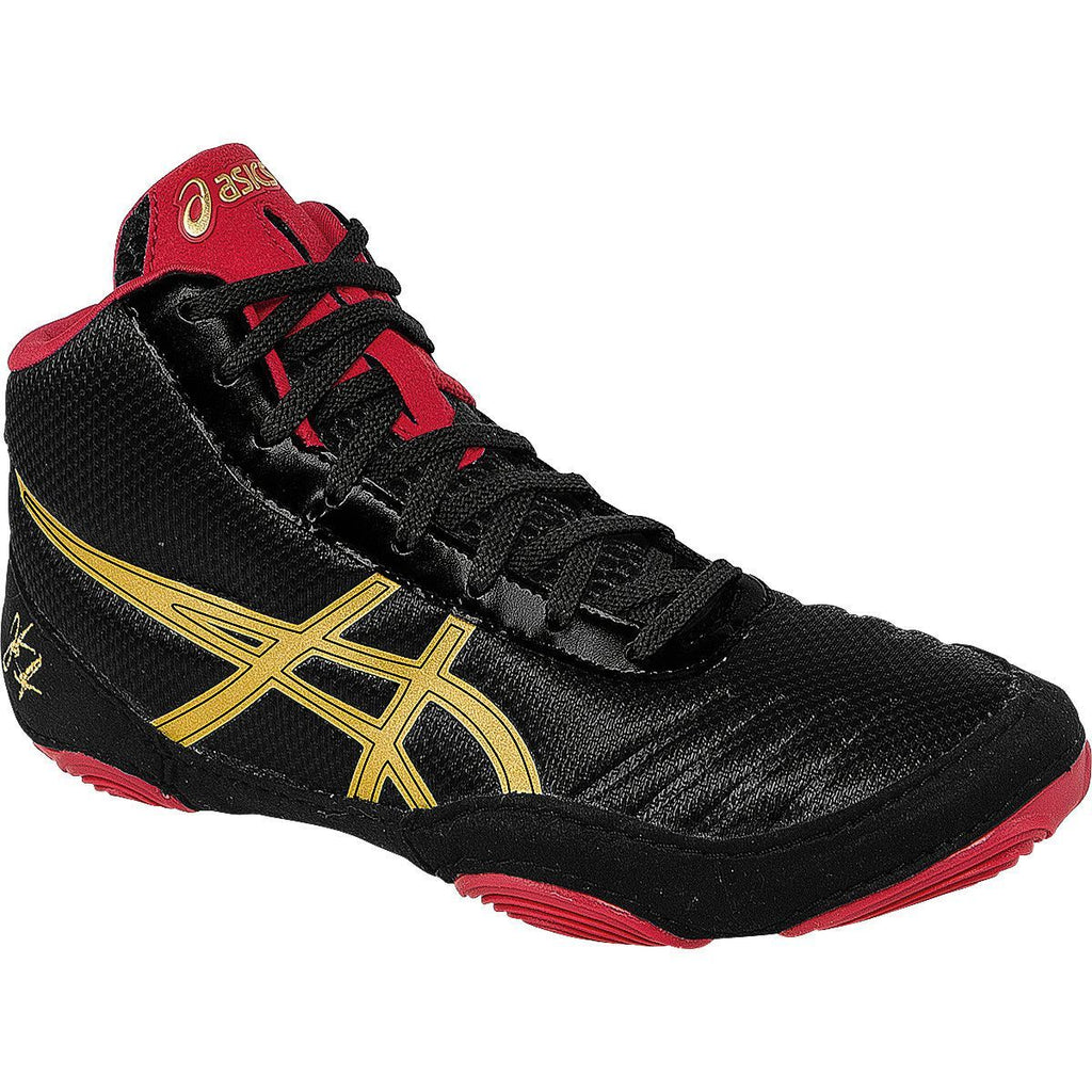 Asics JB Elite V2.0 GS Youth Black Oly Gold Red Wresting Shoes