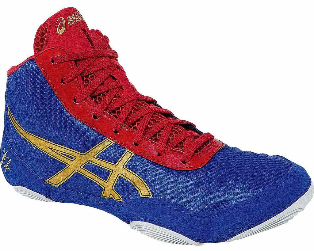 Asics JB Elite V2.0 GS Youth Jet Blue Oly Gold Red Wresting Shoes