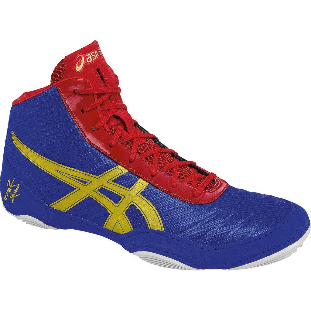 Asics JB Elite V2.0 Retired Jet Blue Oly Gold Red Wrestling Shoes