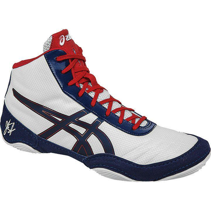 Asics JB Elite V2.0 White Dark Navy True Red Wrestling Shoes