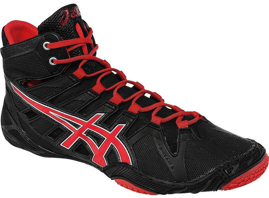Asics Omniflex Attack Black Red Pepper Silver Wrestling Shoes