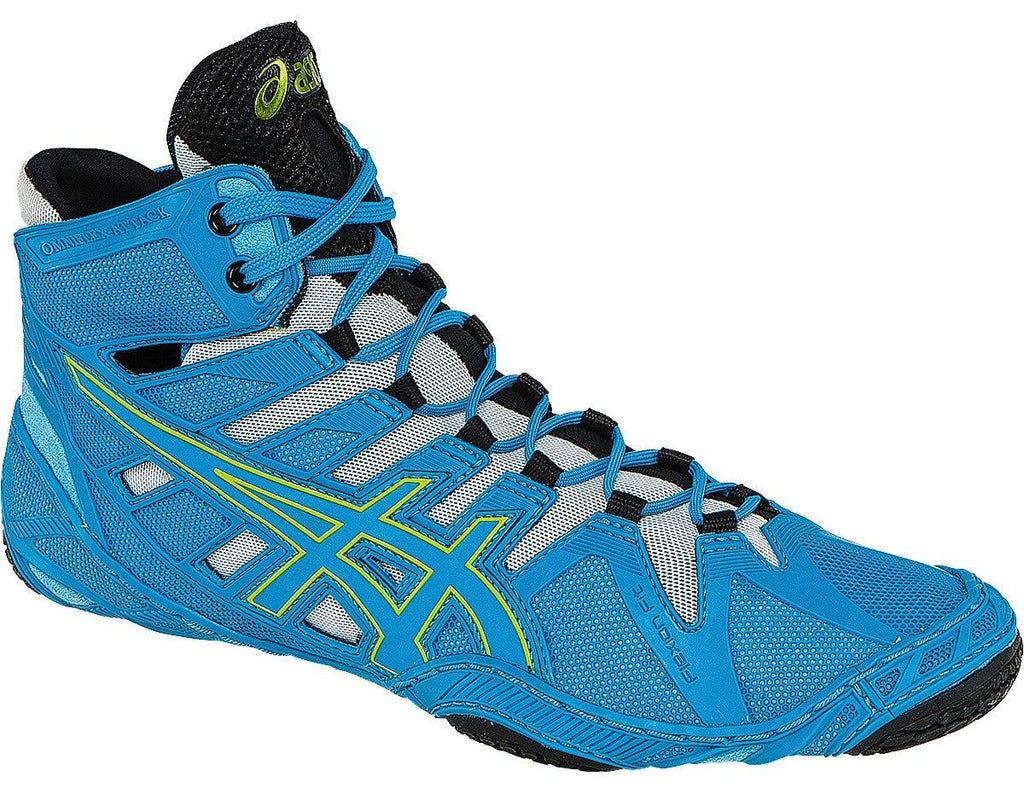 Asics Omniflex Attack Blue Jewel Lime Silver Wrestling Shoes