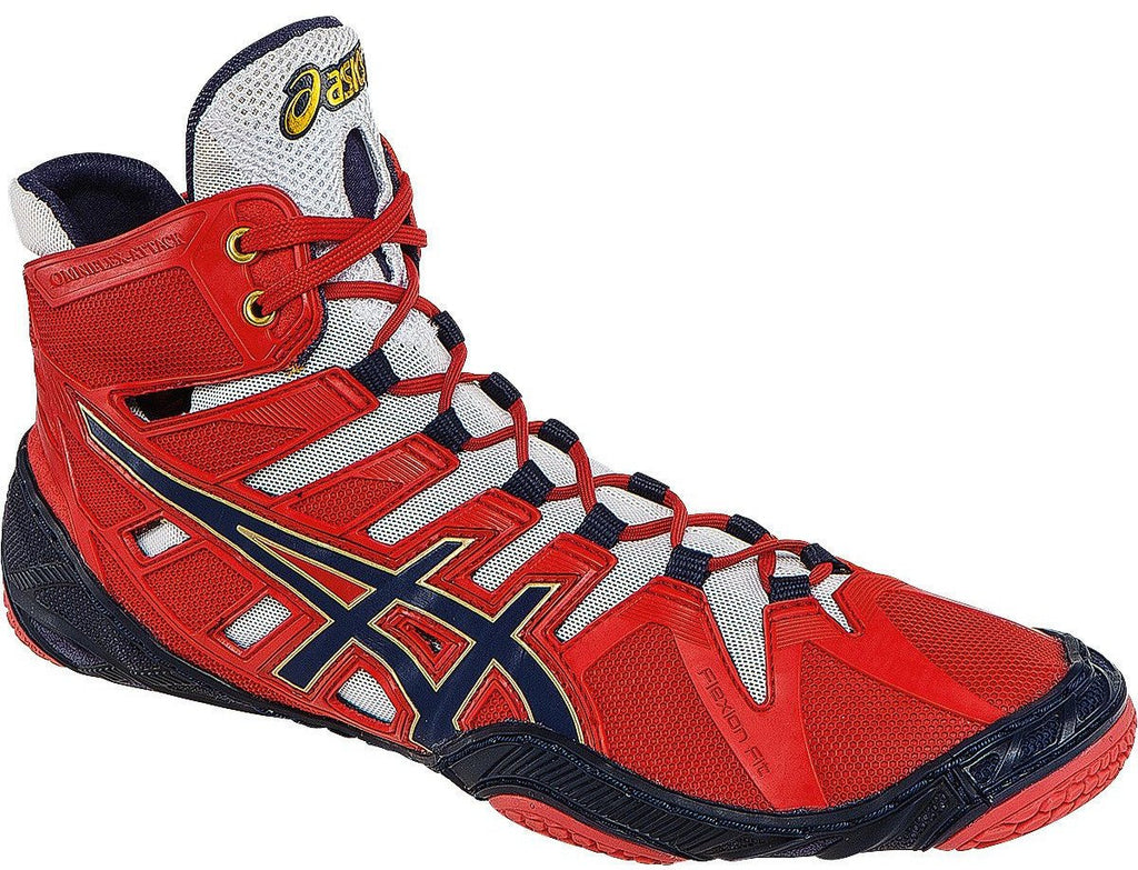 Asics Omniflex Attack Red Navy White Wrestling Shoes